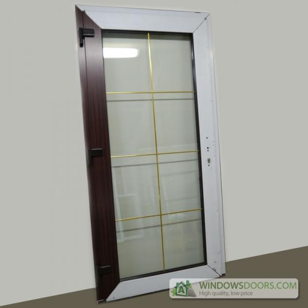 uPVC front doors mahogany with gold door grids ... & uPVC Doors prices calculator pezcame.com